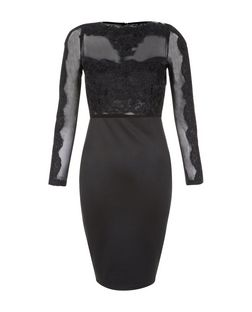 AX Paris Black Lace Panel Midi Dress  | New Look