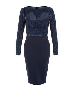 AX Paris Navy Lace Top Midi Dress  | New Look