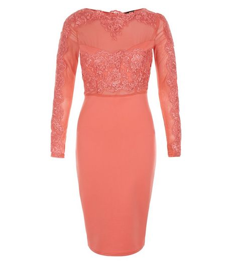AX Paris Coral Lace Midi Bodycon Dress | New Look