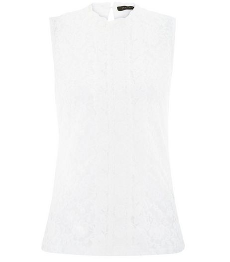 Cream Lace Funnel Neck Sleeveless Top  | New Look