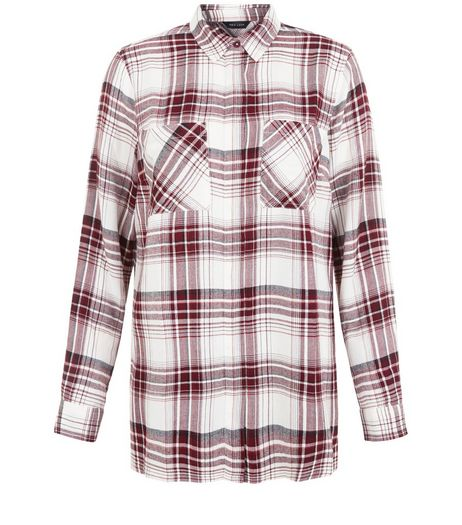 White Check Dip Hem Long Sleeve Shirt  | New Look