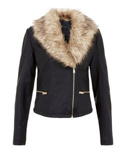 Black Leather-Look Faux Fur Collar Biker Jacket  | New Look