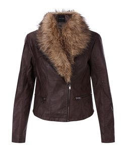 Brown Leather-Look Faux Fur Collar Biker Jacket  | New Look