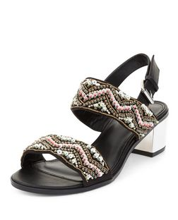 Black Aztec Embellished Block Heel Sandals  | New Look