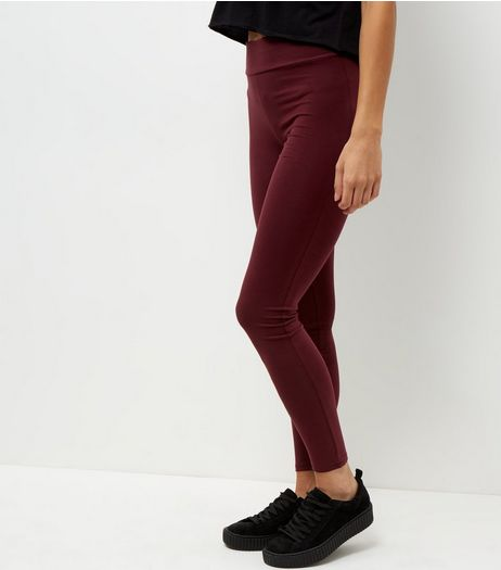 Burgundy High Waisted Leggings  | New Look
