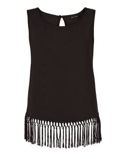 Black Fringed Hem Shell Top  | New Look
