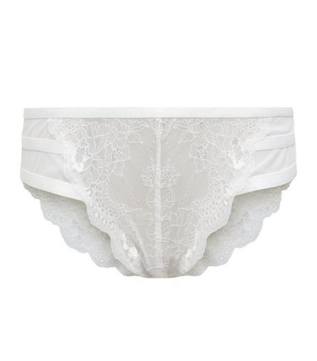 Cream Strappy Back Lace Brazilian Briefs  | New Look