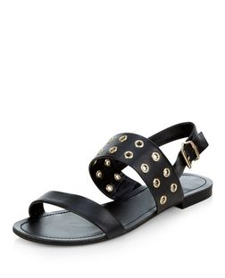 Wide Fit Black Eyelet Two Part Sandals | New Look