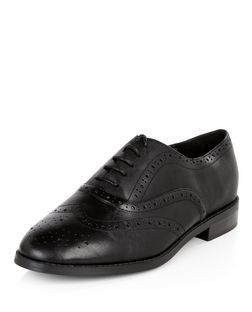 Wide Fit Black Leather Brogues  | New Look