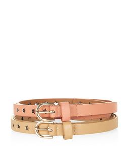 2 Pack Coral and Stone Star Cut Out Belts  | New Look