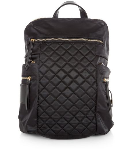Black Quilted Panel Zip Front Backpack  | New Look