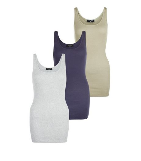Tall Grey Purple and Olive Ribbed Vests  | New Look