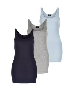 Tall 3 Pack Blue Navy and Grey Vests | New Look