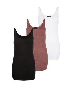 Tall 3 Pack Purple Black and White Ribbed Vests | New Look