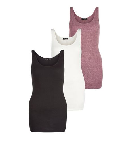 Tall White Burgundy and Black Ribbed Vests  | New Look