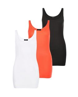 Tall 3 Pack White Orange and Black Vests | New Look