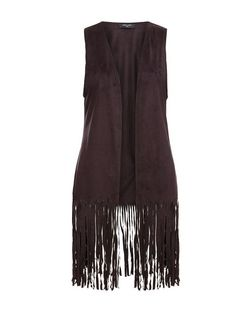 Tall Black Suedette Fringed Waistcoat | New Look