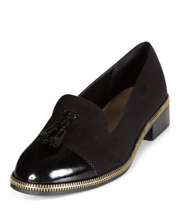 Black Patent Toe Cap Zip Trim Tassel Loafers  | New Look