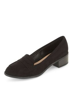 Black Suedette Block Heel Loafers  | New Look