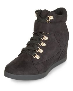 Black Lace Up Concealed Wedge Hi-Tops  | New Look