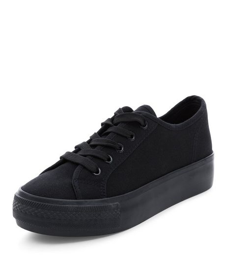 Black Lace Up Flatform Plimsolls  | New Look