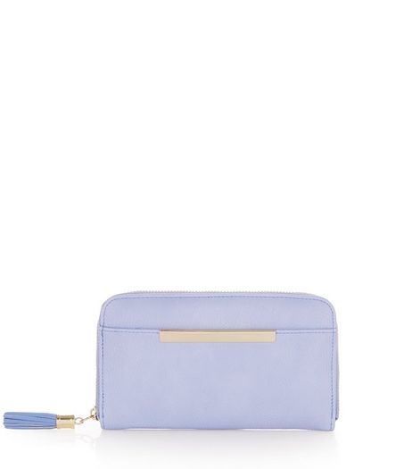 Pale Blue Tassel Zip Around Purse | New Look
