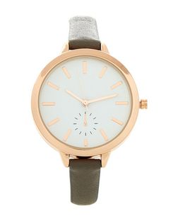 Dark Grey Open Dial Skinny Strap Watch  | New Look