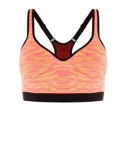 Neon Coral Marl Sports Bra  | New Look