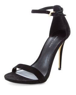 Black Suede Ankle Strap Heels  | New Look