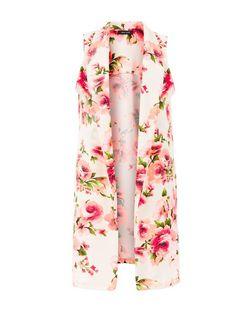 White and Neon Pink Floral Print Sleeveless Coat | New Look