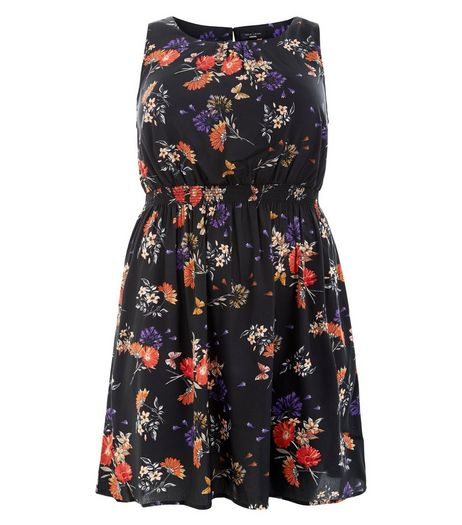 Plus Size Black Floral Print Sleeveless Dress  | New Look