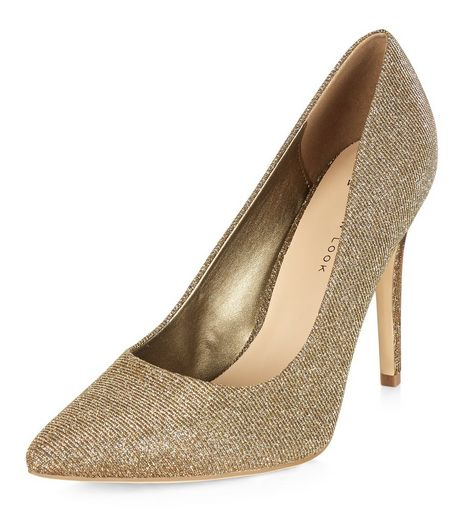 Wide Fit Gold Glitter Pointed Court Shoes  | New Look