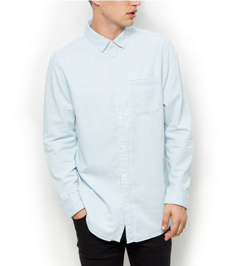 Pale Blue Long Sleeve Denim Shirt  | New Look