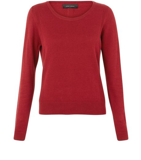 Red Popper Back Jumper  | New Look