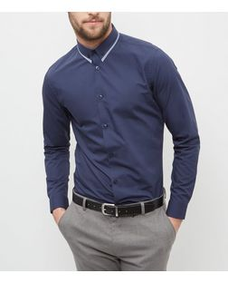 Navy Contrast Trim Collar Long Sleeve Shirt  | New Look