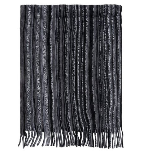 Black Striped Scarf | New Look