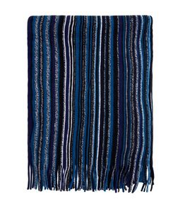 Blue Striped Scarf | New Look
