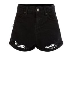 Black Ripped Mom Shorts | New Look