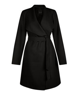 Black Waterfall Belted Coat | New Look