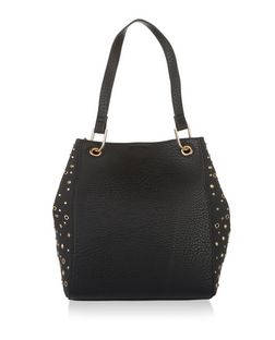 Black Studded Soft Side Tote Bag  | New Look