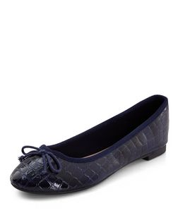 Navy Croc Texture Ballet Pumps | New Look