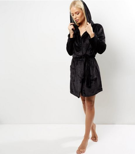 Black Hooded Dressing Gown | New Look