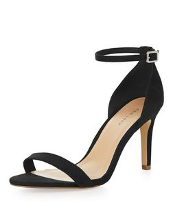 Wide Fit Black Suedette Ankle Strap Mid Heels  | New Look