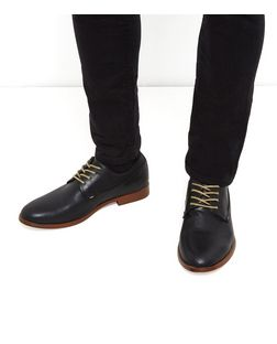 Black Lace Up Derby Shoes | New Look