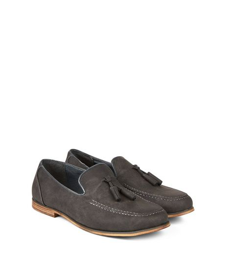 Dark Grey Tassel Front Loafers  | New Look
