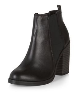 Black Leather Comfort Block Heel Chelsea Boots  | New Look