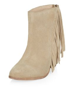 Light Brown Suede Tassel Side Pointed Ankle Boots  | New Look