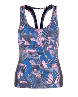 Petite Blue Geo Print Sports Vest  | New Look
