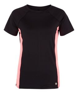 Tall Black Contrast Panel Sports T-Shirt  | New Look