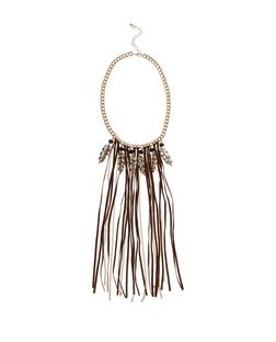 Brown Suedette Tassel and Feather Drop Necklace  | New Look